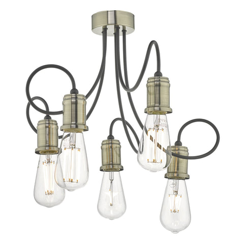 Alzbet 5lt Semi Flush Antique Brass & Black