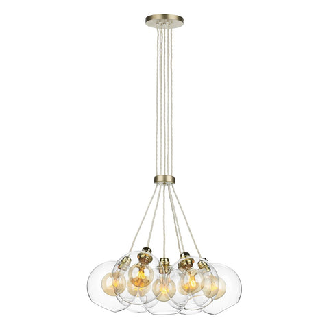 APOLLO 7LT PENDANT BUTTER BRASS CW GLASS (DHL)