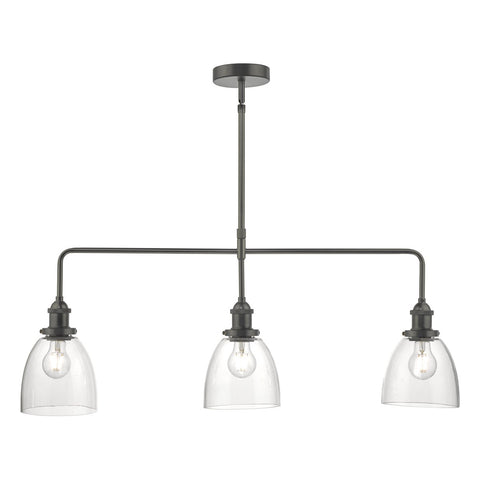 Arvin 3lt Bar Pendant Antique Chrome & Glass