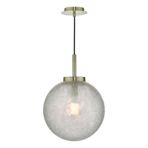 Avari 1 Light Pendant Satin Brass And Clear Frosted Glass