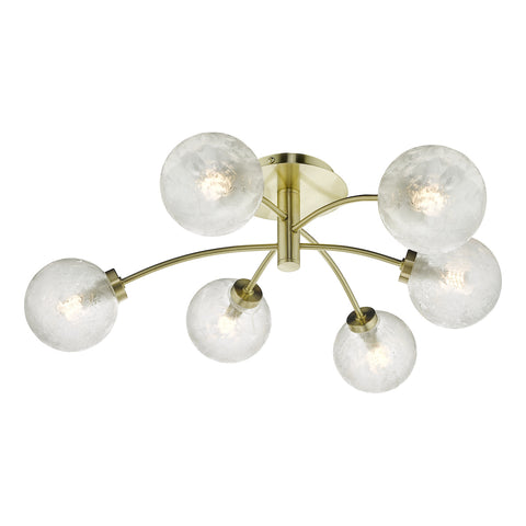 Avari 6 Light Semi Flush Satin Brass And Clear Frosted Glass