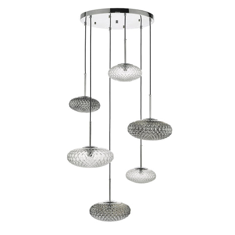 Bibiana 6 Light Cluster Pendant Clear And Smoked Textured Glass Polished Chrome