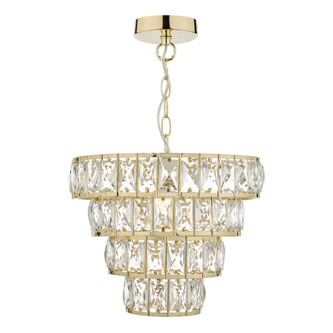 Cerys 1 Light 4 Tier Pendant Crystal & Gold