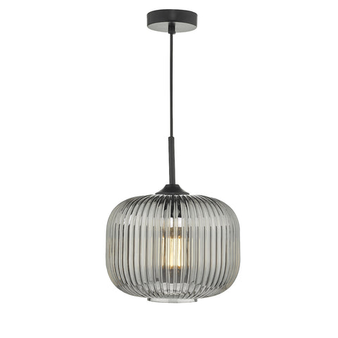 Demarius 1 Light Pendant Black and Smoked Glass