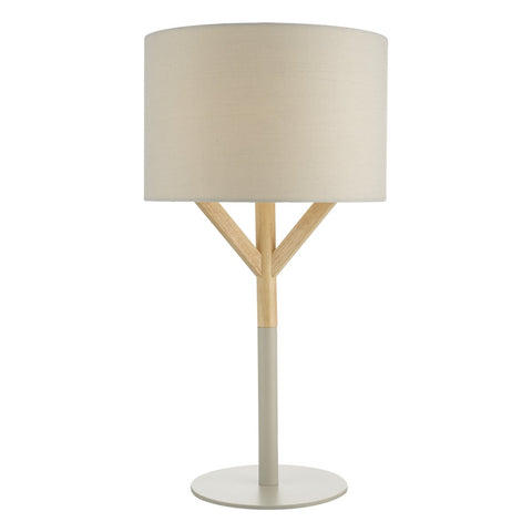 Eatu Table Lamp Wood & Grey C/W Shade