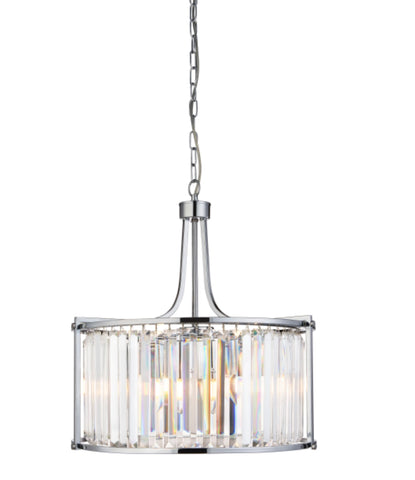 VICTORIA 5LT DRUM PENDANT, CHROME WITH CRYSTAL GLASS