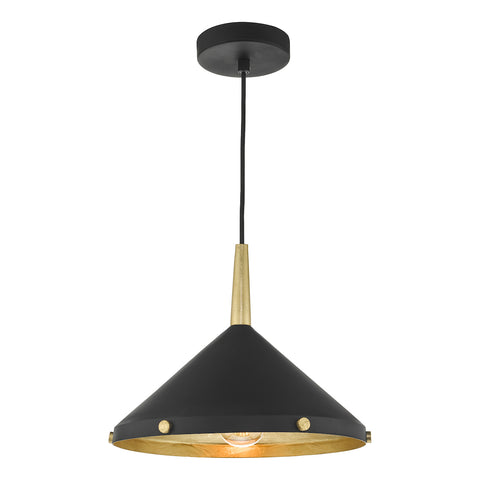 Edena 1 Light Pendant Matt Black And Gold Leaf