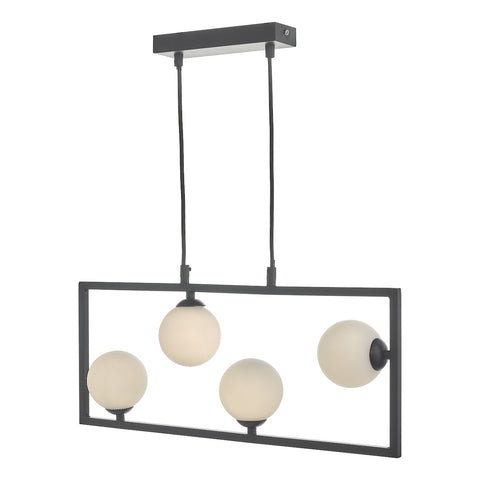 Ensio 4 Light Pendant Matt Black & Opal Glass