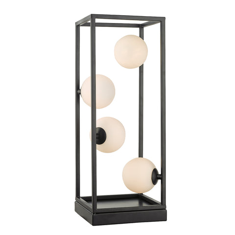 Ensio 4lt Table Lamp Matt Black & Opal Glass