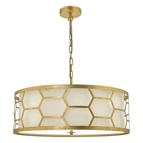 Epstein 4lt Pendant Gold With Ivory Shade & Frosted Glass Diffuser