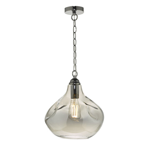 Esarosa 1 Light Pendant Black Chrome And Smoked Glass
