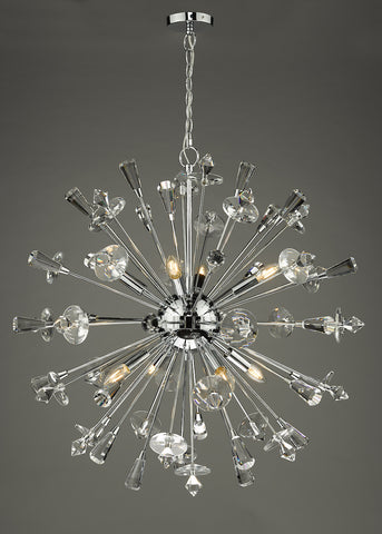 Exodus 8 Light Pendant Polished Chrome Crystal