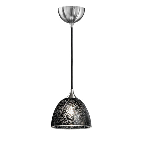 Vetross black cord suspension c/w 180mm black crackle effect glass