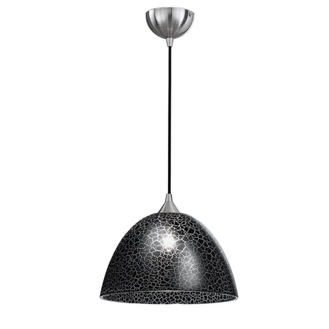 Vetross black cord suspension c/w 350mm black crackle effect glass