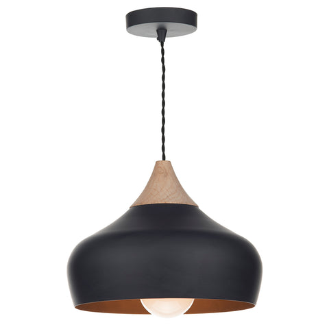 Gaucho 1 Light Pendant Black