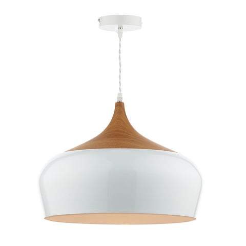 Gaucho 1 Light Pendant White Large