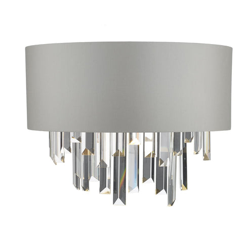 Halle Wall Light Grey & Crystal Cw Shade