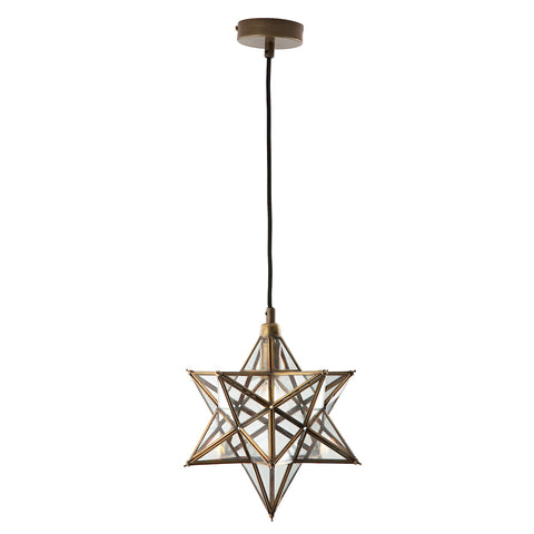 ILARIO 1 Light Star Pendant Antique Brass Glass Small