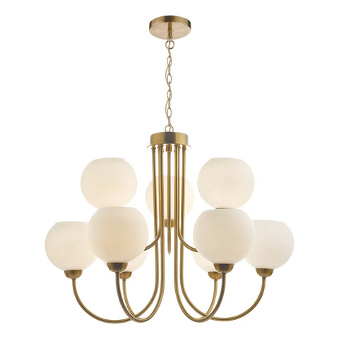 Indra 9 Light Pendant Natural Brass With Opal Glass