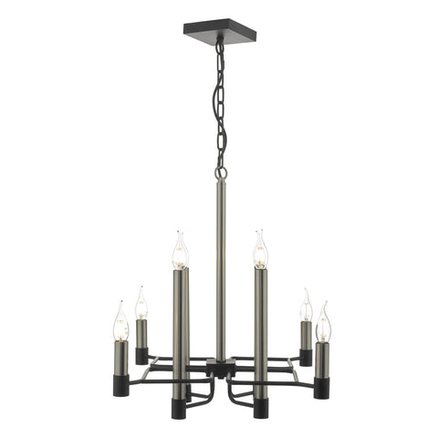 Isambard 8lt Pendant Satin Nickel & Matt Black