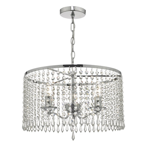 Jocelyn 3lt Pendant Polished Chrome & Crystal