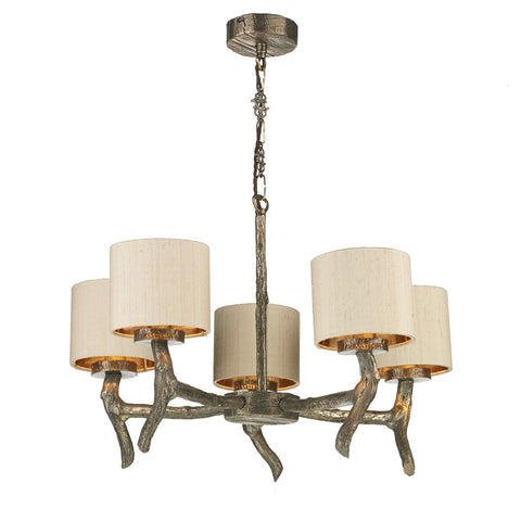 Joshua 5 Light Pendant Bronze Complete With Cream Shade