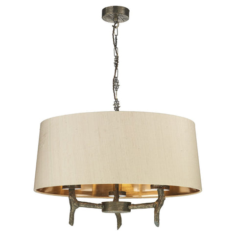 Joshua 3 Light Shaded Bronze Pendant Taupe Silk Shade Bronze Lining