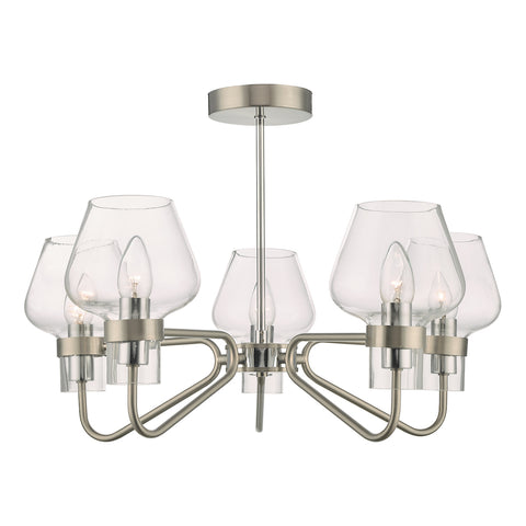 Keta 5 Light Semi Flush Satin Chrome & Polished Chrome