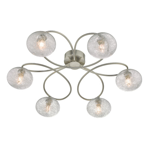 Leysha 6lt Semi Flush Satin Nickel & Glass