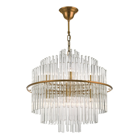 Lukas 13 Light Pendant Brushed Antique Gold And Glear Glass