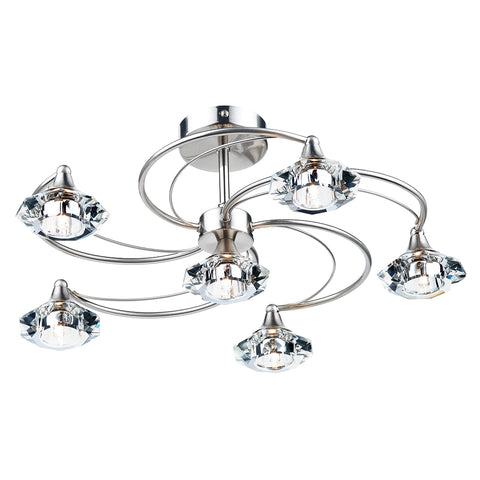 Luther 6 Light Semi Flush complete with Crystal Glass Satin Chrome