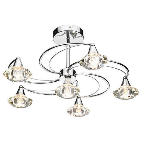 Luther 6 Light Semi Flush complete with Crystal Glass Polished Chrome