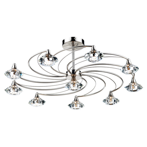Luther 10 Light Semi Flush complete with Crystal Glass Satin Chrome