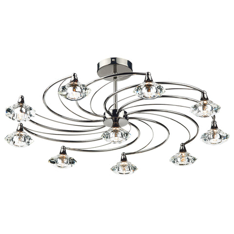 Luther 10 Light Semi Flush complete with Crystal Glass Black Chrome