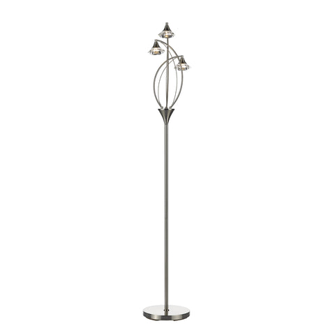 Luther 3 Light Floor Lamp complete with Crystal Glass Satin Chrome
