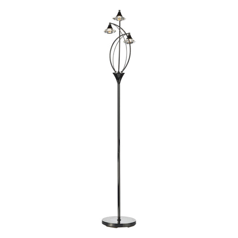 Luther 3 Light Floor Lamp complete with Crystal Glass Black Chrome