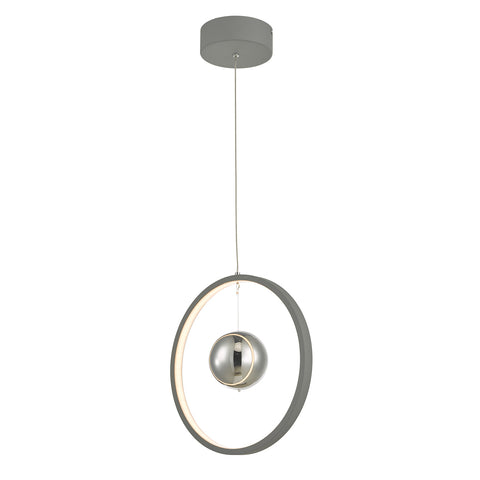 Mercury 1lt Pendant Vertical Grey LED