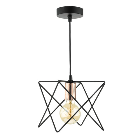 Midi 1 Light Pendant Black Copper
