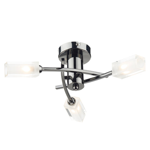 Morgan 3 Light Semi Flush Black Chrome