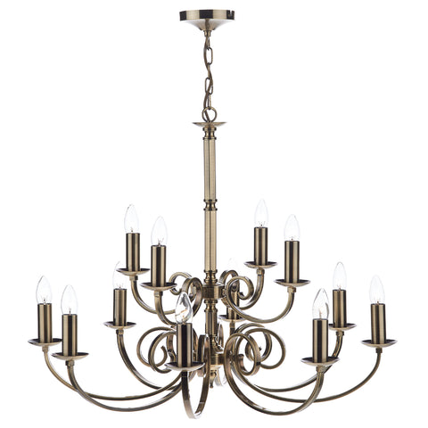 Murray 12 Light Dual Mount Pendant Antique Brass