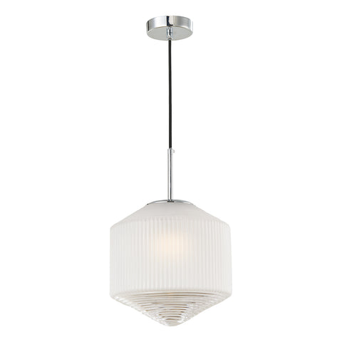 Nisha 1 Light Pendant Polished Chrome And Frosted/Clear Glass