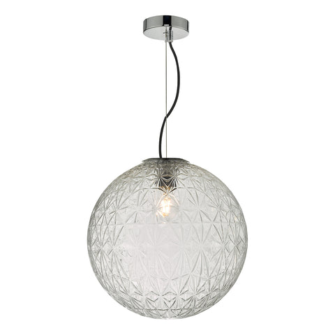 Ossian 1 Light Pendant Polished Chrome And Clear Glass Large