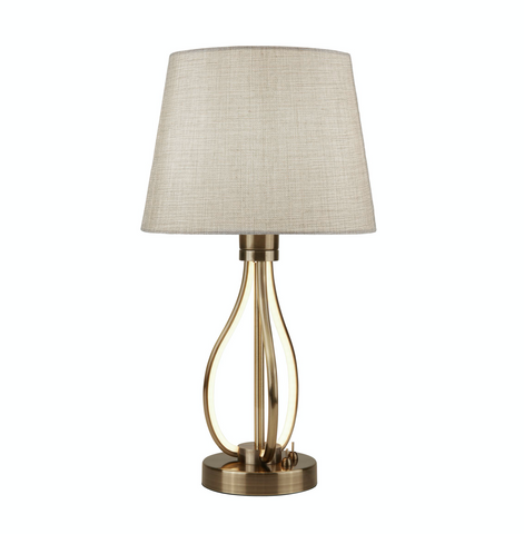 VEGAS LED TABLE LIGHT, ANTIQUE BRASS WITH OATMEAL SHADE