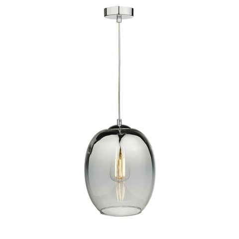 Patrice 1 Light Pendant Silver Glass