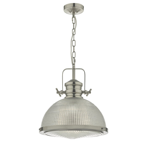Peyton 1 Light Pendant Satin Nickel And Textured Glass