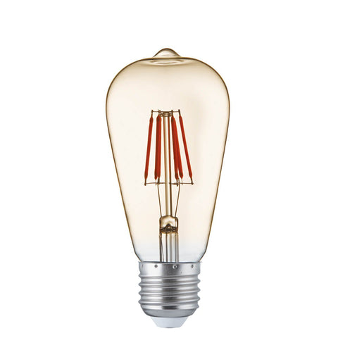 Pack of 5 LED 6 Watt Squirrel E27 Amber Glass Filament Lamps