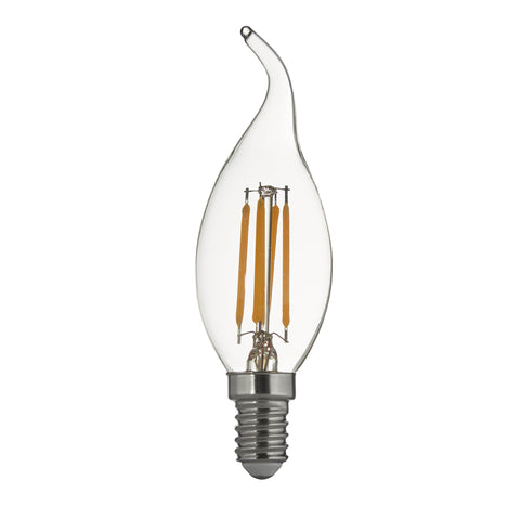 PACK 10 x CANDLE E14 DIMMABLE FILAMENT FLAME TIP LED LAMPS- 4W, 350LM