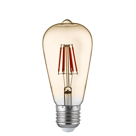 SQUIRREL E27 DIMMABLE AMBER GLASS FILAMENT LED LAMPS, 6W, 600LM