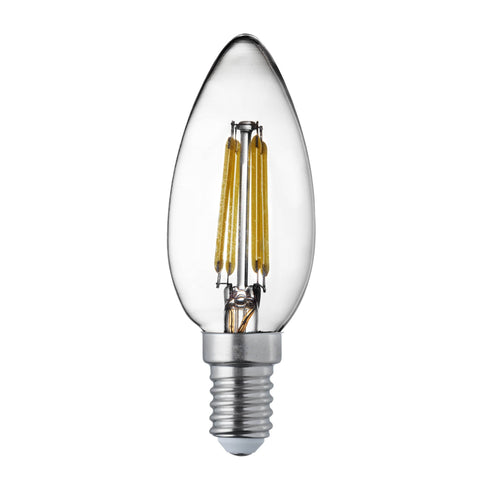PACK x 10 CANDLE E14 DIMMABLE FILAMENT LED LAMPS - 4.5W, 400LM, WARM WHITE