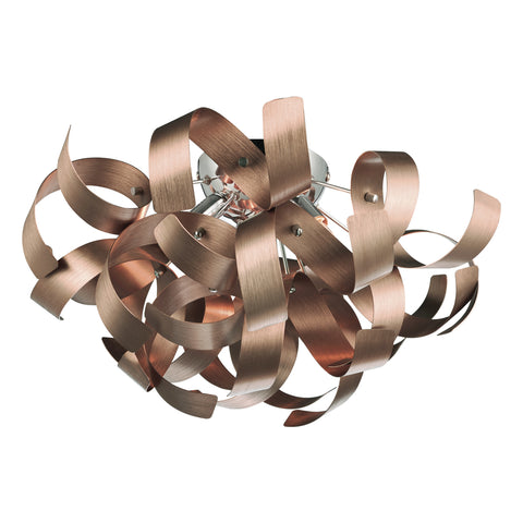 Rawley 4 Light Ribbon Flush Satin Copper